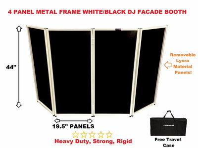 BEAST-4WB DJ Event Facade White/Black Scrim Metal Frame Booth + Travel Bag Case
