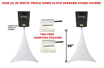 2 White Triple Sided Cloth Tripod Speaker Stand Stretch Covers DJ Scrims + Bags