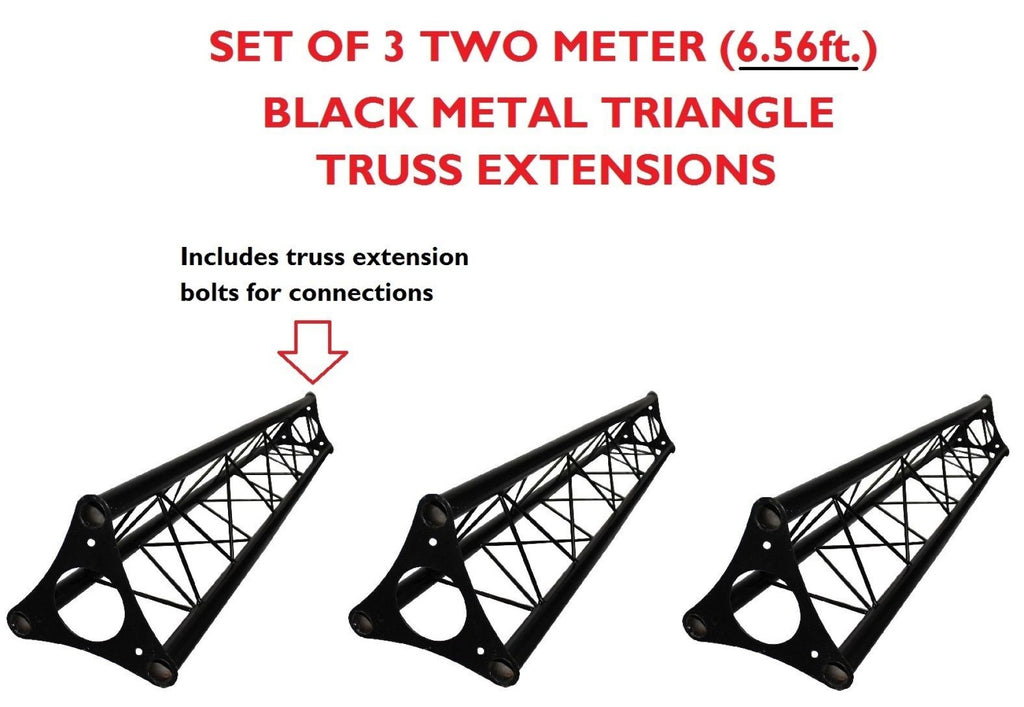 Three 6.56' (2M) Wide Triangular Trussing Mobile DJ Lighting Bolt Truss System Truss