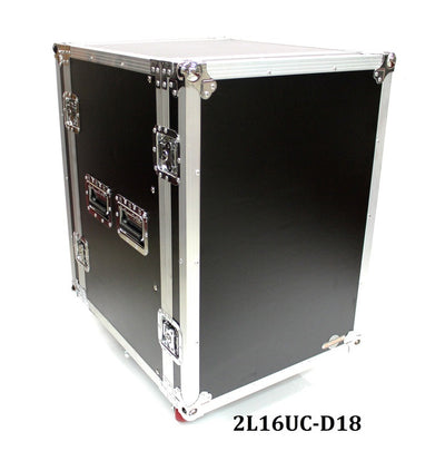 2L16UC-D18 Sixteen U Two Lid Flight Case With Locking Casters