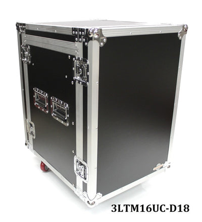 3LTM16UC-D18 Sixteen U Three Lid Flight Case With Adjustable Top Rails