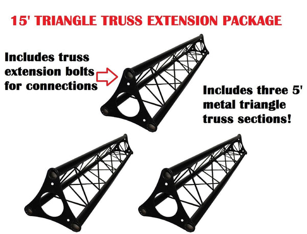Three 4.92' (1.5M) Wide Triangular Trussing Mobile DJ Lighting Bolt Truss System Truss