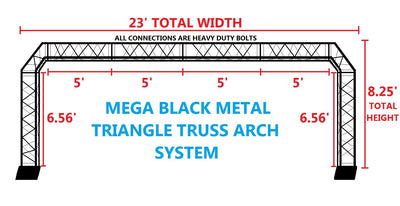 Black Truss Arch Kit 23 ft. Width Mobile Portable DJ Lighting System Metal Bolts