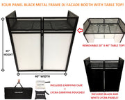 "BEAST-7 DJ Event Facade White/Black Scrim Metal Frame Booth + 20"" x 40"" Flat Table Top"