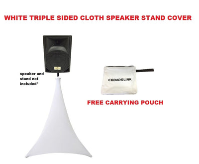 White Triple Sided Cloth Speaker Stand Stretch Tripod Cover, DJ Scrim +FREE Bag