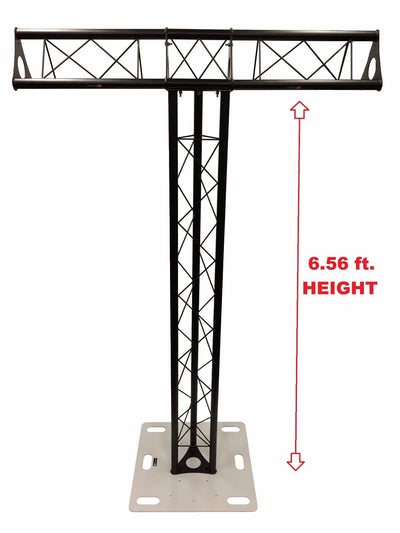 Totem 2m 6.56ft Black Triangle Metal Truss Tower + Base Vertical T-Truss System