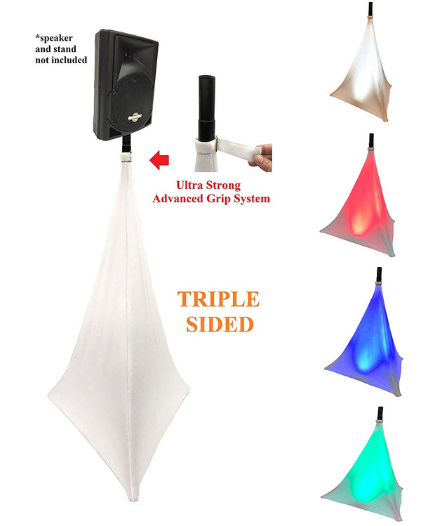 LK-SPMESH Tripod Speaker Stand Stretch Cover - Triple Sided DJ Scrim - Spandex DJ Skirt - 3-Sides Perfect for Glow Lighting Effect - WHITE