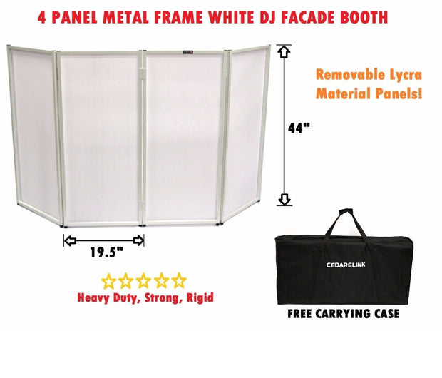 BEAST-4W DJ Event Facade White Scrim Metal Frame Booth + Travel Bag Case