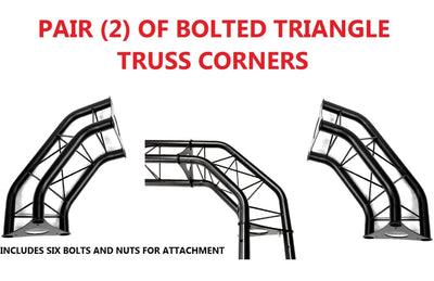 Pair (2) Two Black Metal Corners For Bolted Triangle Trusses DJ Lighting Arch