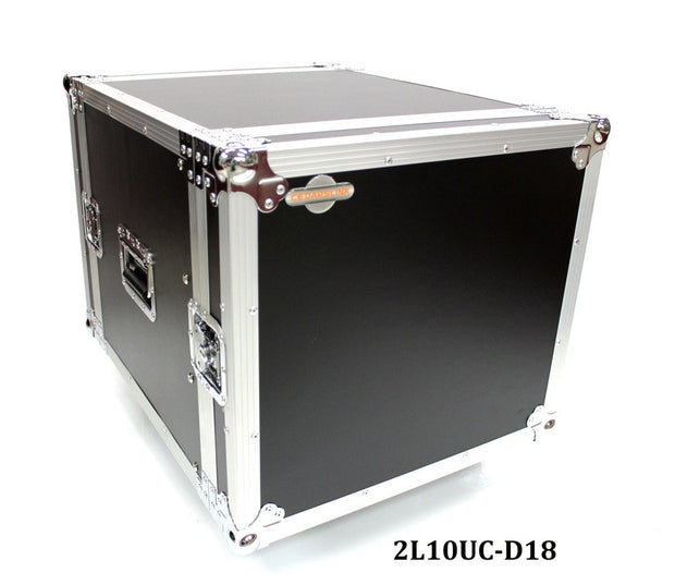 2L10UC-D18 Ten U Two Lid Flight Case With Locking Casters