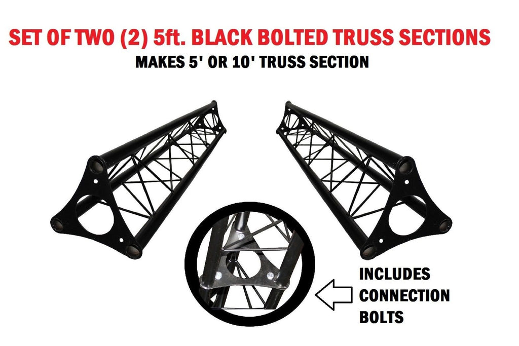 Two 4.92' (1.5M) Wide Triangular Trussing Mobile DJ Lighting Bolt Truss System Truss