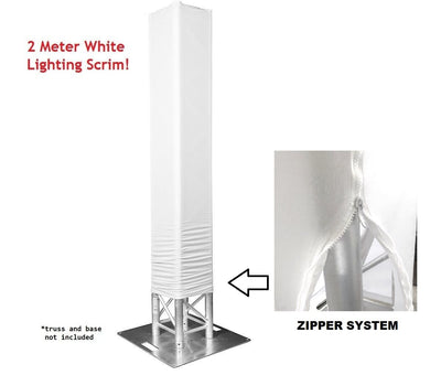 6 Foot White Totem Lighting Truss Stand Zipper Scrim Cover Sleeve Sock 6ft