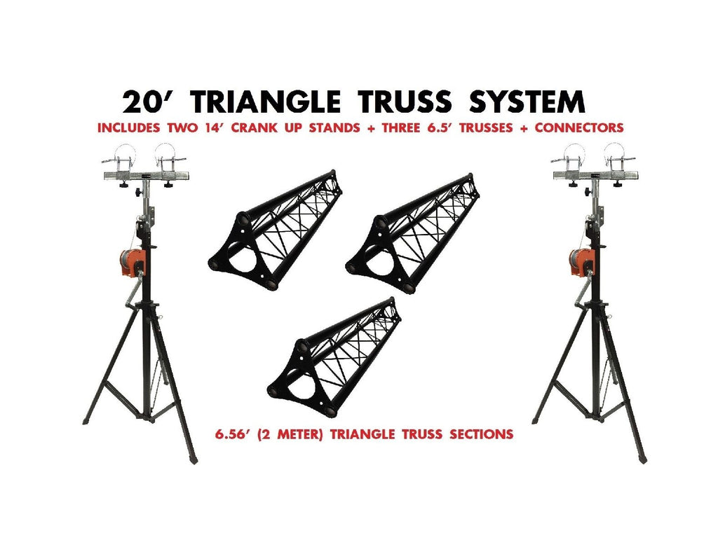 Two 14' Crank Up Stands+Three 6.56ft 2 meter Metal Bolt Triangle Truss Segments