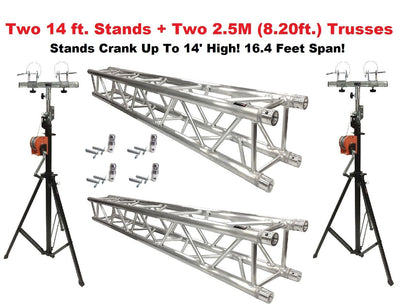 Two 14' Crank Up Stands With Two 8.20' Square Aluminum Truss Segments Package