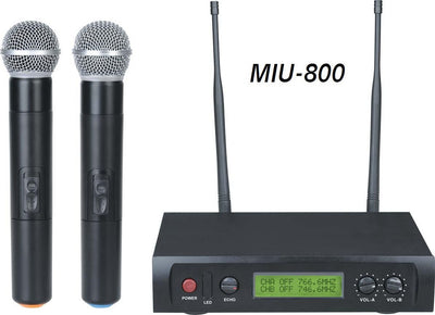 MIU-800 Professional Dual UHF Wireless Microphone System With Echo Control