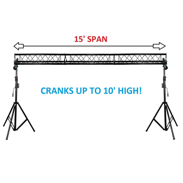 15' Wide Crank Triangular Trussing Mobile DJ Lighting Truss System Triangle