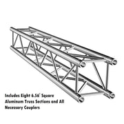 Square Aluminum Truss 7.5ft. W/L x 7ft. H Trade Show Booth Complete Setup Package DJ