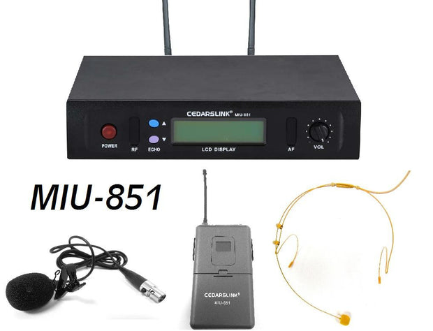 MIU-851 Professional Single UHF Wireless Headset and Lavalier Microphone Set With Echo Control