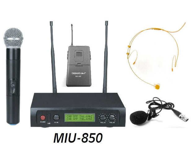 MIU-850 Professional Wireless Dual Microphone UHF System With Lavalier and Headset With Echo Control
