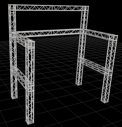 16 ft. H x 15 ft. W x 8.5 ft. D Exhibition Module Tradeshow Square Booth Truss Display System Package
