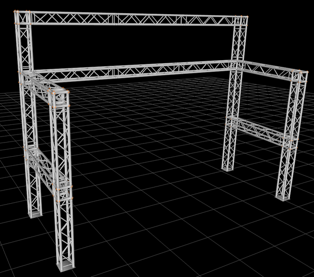 16 ft. H x 21.6 ft. W x 8.5 ft. D Exhibition Module Tradeshow Square Booth Truss Display System Package