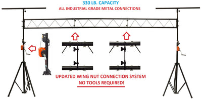 LK-XC15 15' Crank Up DJ Light Stand Heavy Duty Truss LED Lighting System 11.6' Height