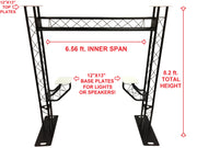 BLACK TRUSS ARCH KIT 8.20FT Height Mobile Portable DJ Lighting System Metal Arch Total Of 4 Flat Tops On System To Mount Lights/Speakers