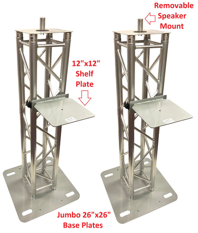 (2) 4.92ft 1.5M DJ Lighting Aluminum Truss Totem +Shelf Moving Head/Speaker Pole