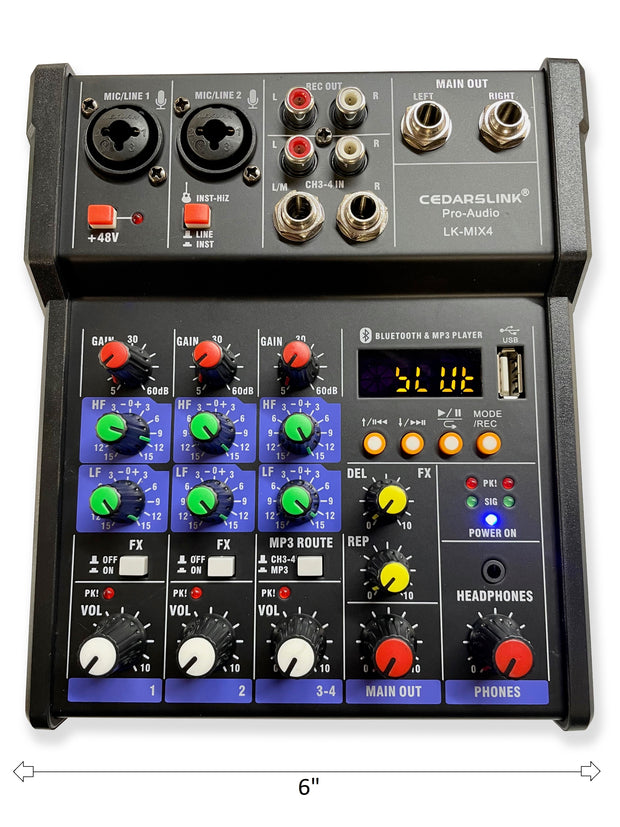 LK-MIX4 Mini 4 Channel Bluetooth/USB/MP3/Computer Mixer Console