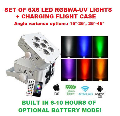 LK-BANK6 Set of 6 Wireless LED Par Lights 6x6 In 1 RGBWA + UV