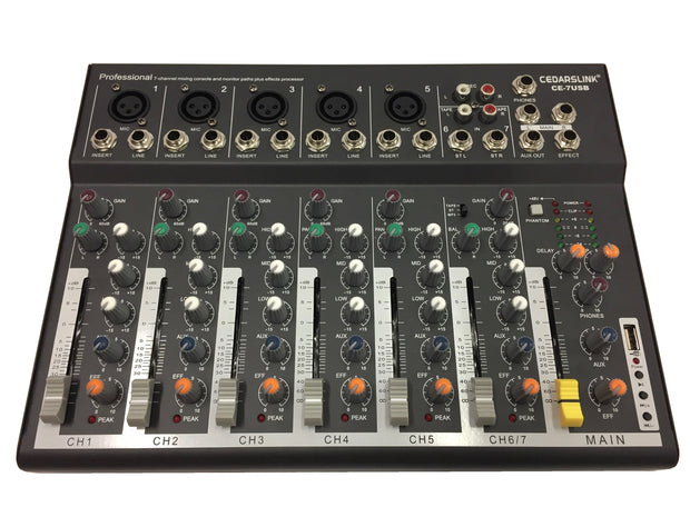 CE-7USB Professional 7 Channel Mixer With USB Input