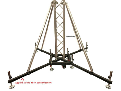 "Industrial Strength Heavy Duty Rolling Truss Base+Four 68"" Outrigger Support Bar"