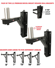 Two (2) LK-RSD Swivel Speaker Wall Mounts For Pro Audio DJ PA Adjustable Angles. Aluminum Peg Mount! Over 200 LB. Capacity!