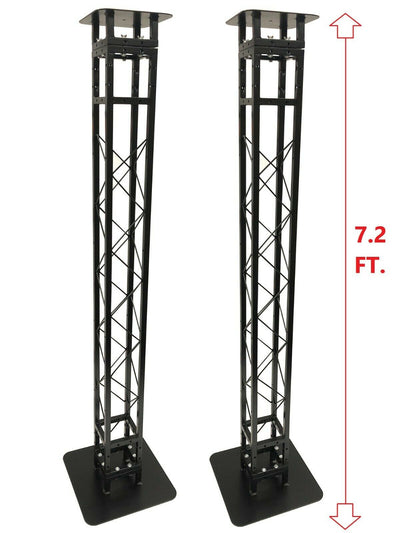 (2) Black 7.2 ft DJ Lighting Truss Light Weight Dual Totem System Trussing Tower