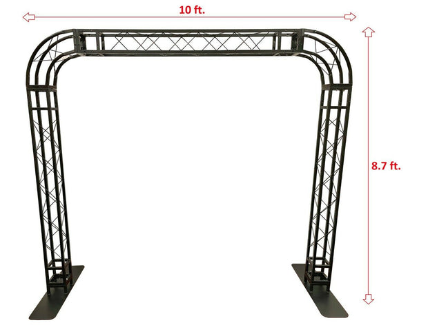 BLACK TRUSS ROUNDED ARCH KIT 10 FT Width Mobile Portable DJ Lighting System