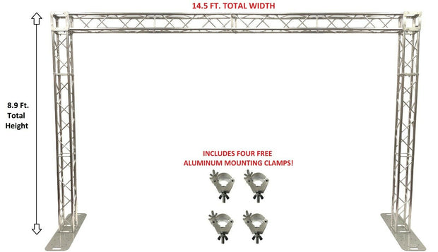 14.5 Ft. Width Square Aluminum Truss Goal Post System For DJ Lights Speakers PA (Bolted Trusses That Assemble FAST + Four FREE O Clamps)!