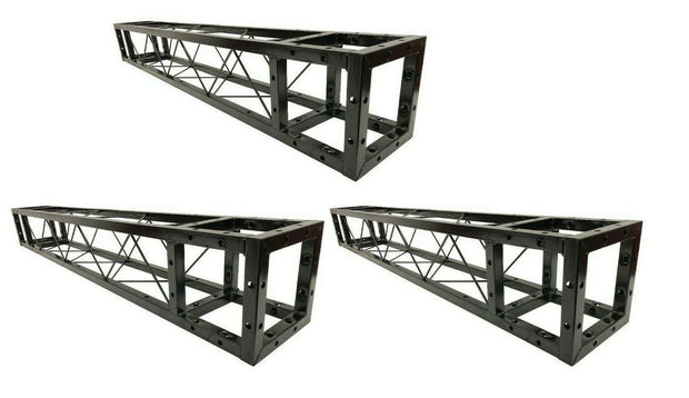 "Three 1.5 Meter 4.92 ft. Square 8""x8"" Black Trussing Box Truss Section Bolted"
