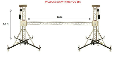 8.50 Ft. H + 20 Ft. W Ground Support Truss Lifting Tower Roof System Outriggers