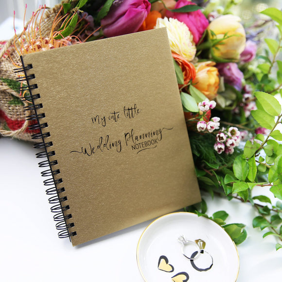 My Cute Little Wedding Planning Notebook / Journal - Gold - Susana Cresce