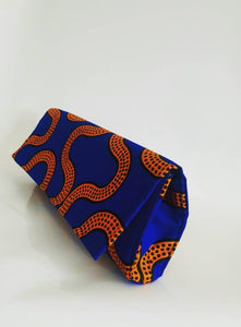 Handmade Royal blue and mustard African Wax Ankara Fabric  Clutch, Earings and Bib Collar Necklace