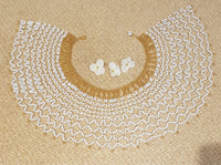 Zulu beaded over the shoulder necklace over the shoulder/ African beaded Necklace in white and gold, medium sized