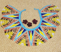 Handmade Zulu Multi coloured beaded necklace/Zulu Collared Necklace  blue, yellow, red, white