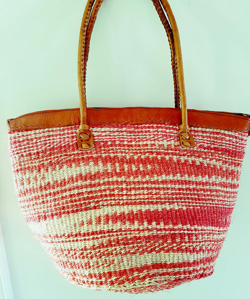 Red and White Ethnic Kiondo bag with  browm leather Straps