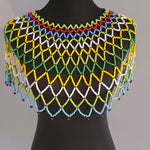 Zulu Large Multi Coloured Over the Shoulder Beaded Necklace, green, red, blue, yellow and white