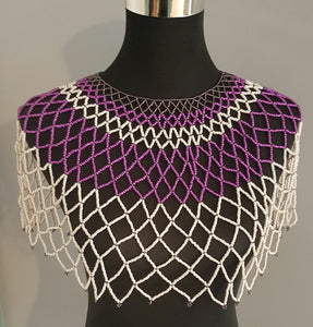 Zulu Large White and Purple Over the Shoulder Beaded Necklace