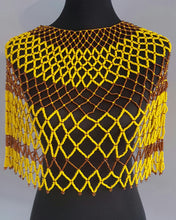 Load image into Gallery viewer, Zulu beaded Collar necklace/ Tribal Necklace/African Beaded Neckalce, Large size in musturd yellow and brown