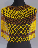 Zulu beaded Collar necklace/ Tribal Necklace/African Beaded Neckalce, Large size in musturd yellow and brown