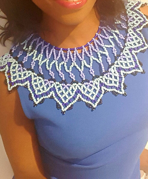 Free Shipping-Zulu Beaded Necklace/Tribal/Ethnic Necklace in Navy Blue, Light Blue and Black