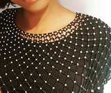 Handmade Zulu beaded neckalace, Large over the Shoulder Neecklace/Zulu Collared beaded necklace. Black and white colour
