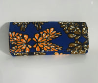 Handmade African Wax/Ankara/Kitenge Print Floral Royal Blue with Orange , Army Green and Black design